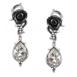 Bacchanal Black Rose Drop Earrings Gothic Plus  Gothic Clothing, Jewelry, Goth Shoes, Boots & Home Decor