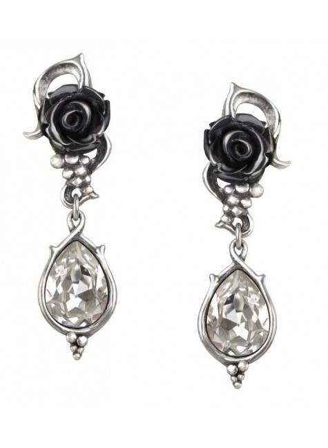 Bacchanal Black Rose Drop Earrings at Gothic Plus, Gothic Clothing, Jewelry, Goth Shoes & Boots & Home Decor