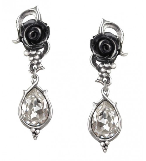 Bacchanal Black Rose Drop Earrings at Gothic Plus,  Gothic Clothing, Jewelry, Goth Shoes, Boots & Home Decor