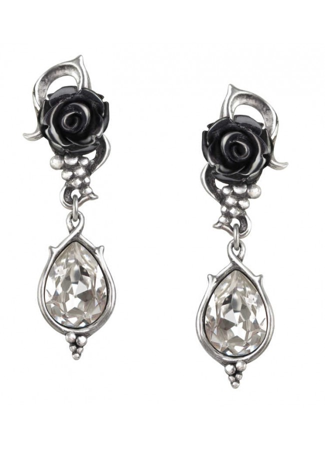 Bacch Black Rose Drop Earrings At Gothic Plus Clothing Jewelry Goth Shoes