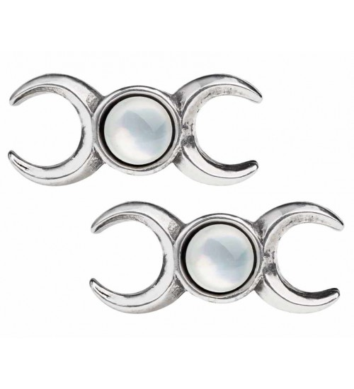 Triple Goddess Stud Earrings at Gothic Plus,  Gothic Clothing, Jewelry, Goth Shoes, Boots & Home Decor