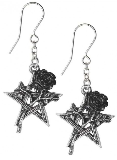 Ruah Vered Pentacle Rose Gothic Earrings at Gothic Plus, Gothic Clothing, Jewelry, Goth Shoes & Boots & Home Decor