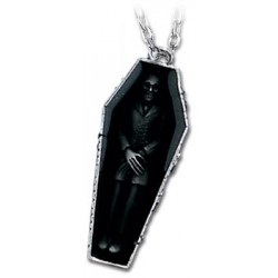 Nosferatus Rest Vampire Coffin Pewter Necklace Gothic Plus Gothic Clothing, Jewelry, Goth Shoes & Boots & Home Decor