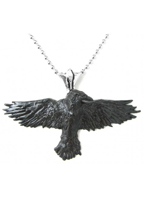 Black Raven Pewter Necklace at Gothic Plus, Gothic Clothing, Jewelry, Goth Shoes & Boots & Home Decor