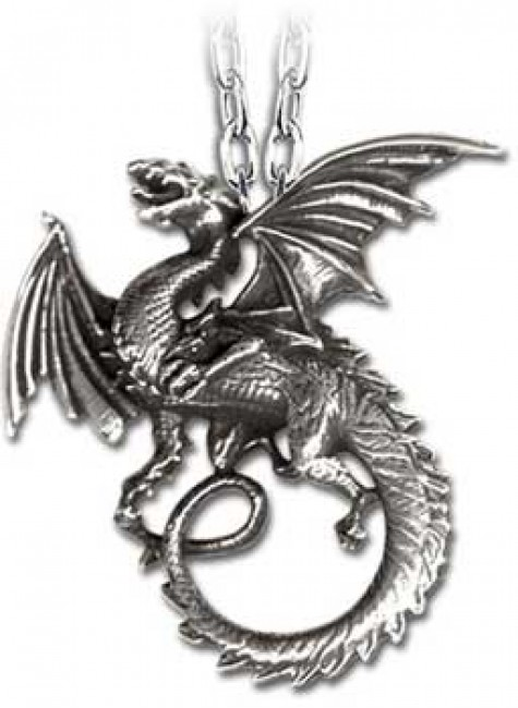 The Whitby Wyrm Pewter Dragon Necklace at Gothic Plus, Gothic Clothing, Jewelry, Goth Shoes & Boots & Home Decor