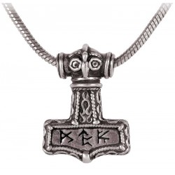 Bindrune Thors Hammer Pewter Necklace Gothic Plus Gothic Clothing, Jewelry, Goth Shoes & Boots & Home Decor