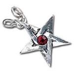 Crystal Pentagram Pewter Necklace