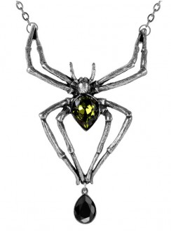 Emerald Venom Spider Pewter Necklace Gothic Plus Gothic Clothing, Jewelry, Goth Shoes & Boots & Home Decor