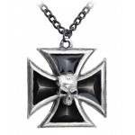 Black Knights Cross Pewter Necklace