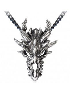 Dragon Skull Pewter Gothic Necklace Gothic Plus Gothic Clothing, Jewelry, Goth Shoes & Boots & Home Decor