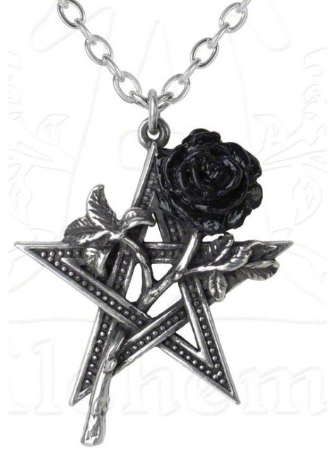 Ruah Vered Pentacle Rose Gothic Necklace at Gothic Plus,  Gothic Clothing, Jewelry, Goth Shoes, Boots & Home Decor
