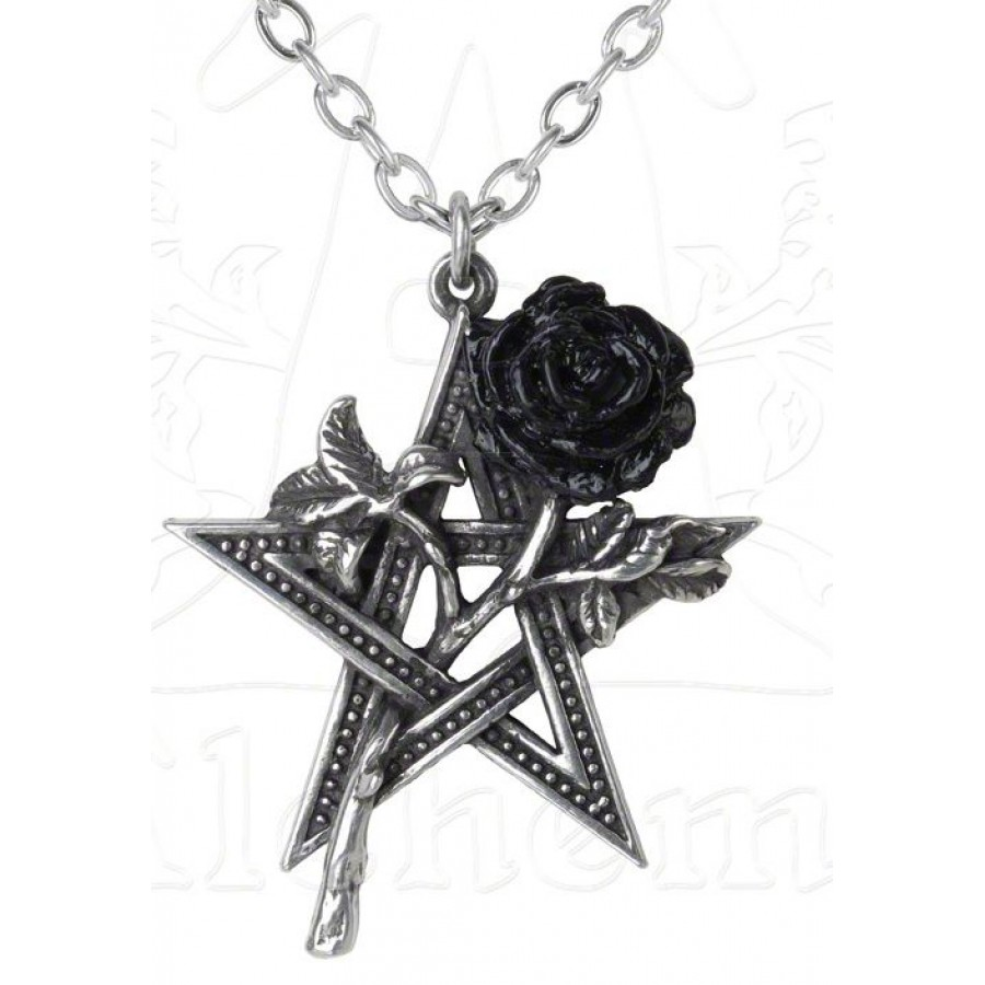Ruah Vered Pentacle Rose Gothic Necklace Gothic Jewelry Pagan Jewelry
