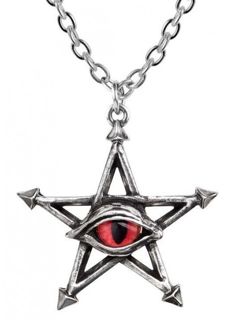 Red Curse Pentagram Eye Pewter Necklace at Gothic Plus, Gothic Clothing, Jewelry, Goth Shoes & Boots & Home Decor