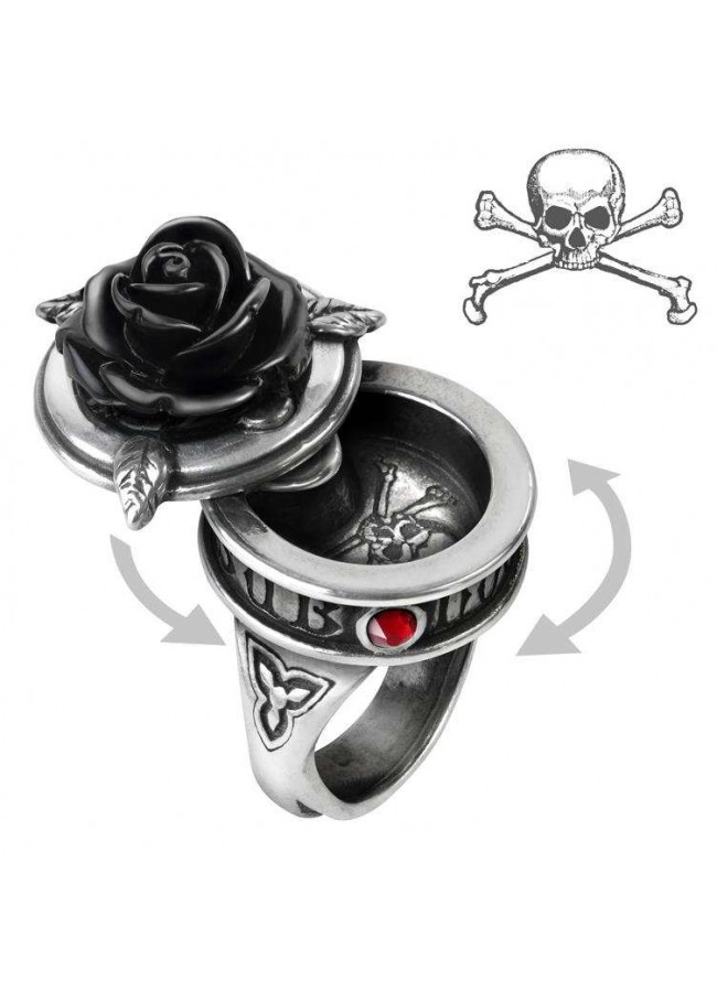 sub rosa black rose gothic poison ring pewter compartment