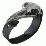 Rabeschadel Pewter Raven Skull Leather Strap Bracelet