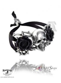 Skull and Briar Rose Pewter Dreadpunk Bracelet Gothic Plus Gothic Clothing, Jewelry, Goth Shoes & Boots & Home Decor