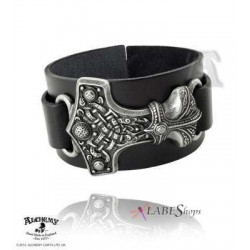 Thunderhammer Leather and Pewter Bracelet Gothic Plus Gothic Clothing, Jewelry, Goth Shoes & Boots & Home Decor