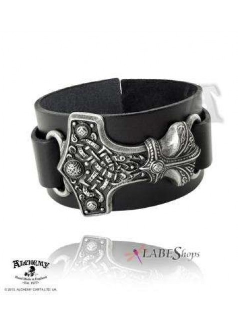 Thunderhammer Leather and Pewter Bracelet at Gothic Plus, Gothic Clothing, Jewelry, Goth Shoes & Boots & Home Decor