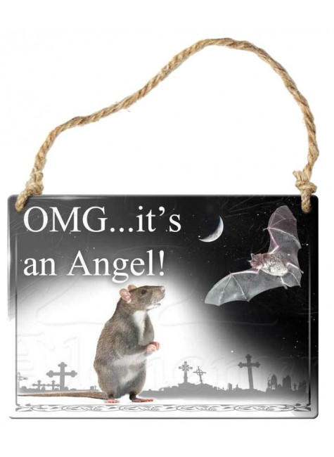 OMG Its an Angel Bat Gothic Quote Metal Sign at Gothic Plus, Gothic Clothing, Jewelry, Goth Shoes & Boots & Home Decor