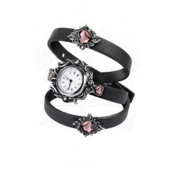 Heartfelt Leather and Pewter Wrist Wrap Watch Gothic Plus  Gothic Clothing, Jewelry, Goth Shoes, Boots & Home Decor