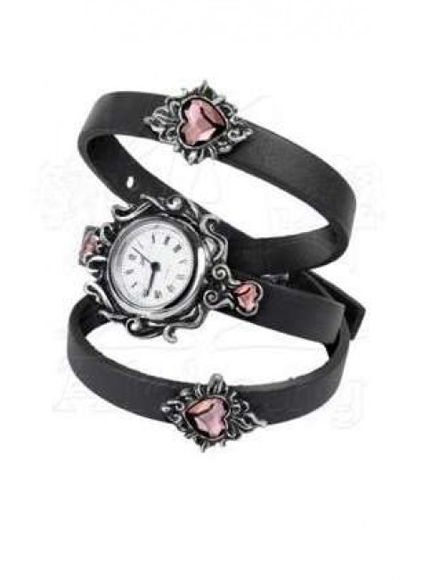 Heartfelt Leather and Pewter Gothic Wrist Wrap Watch at Gothic Plus, Gothic Clothing, Jewelry, Goth Shoes & Boots & Home Decor