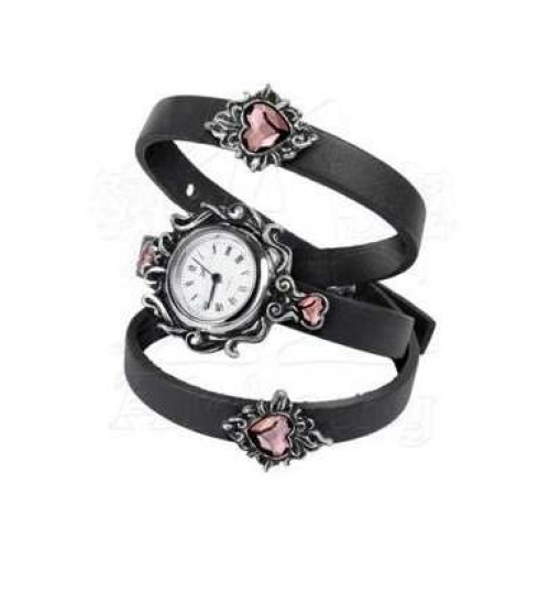 Heartfelt Leather and Pewter Wrist Wrap Watch at Gothic Plus,  Gothic Clothing, Jewelry, Goth Shoes, Boots & Home Decor