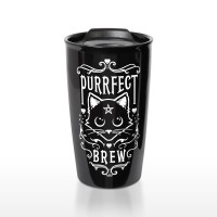 Black Cat Purrfect Brew Double Walled Travel Mug