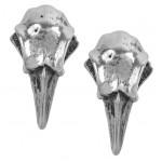 Rabeschadel Pewter Raven Skull Stud Earrings