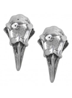 Rabeschadel Pewter Raven Skull Stud Earrings Gothic Plus Gothic Clothing, Jewelry, Goth Shoes & Boots & Home Decor