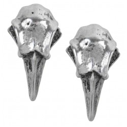 Rabeschadel Pewter Raven Skull Stud Earrings Gothic Plus  Gothic Clothing, Jewelry, Goth Shoes, Boots & Home Decor