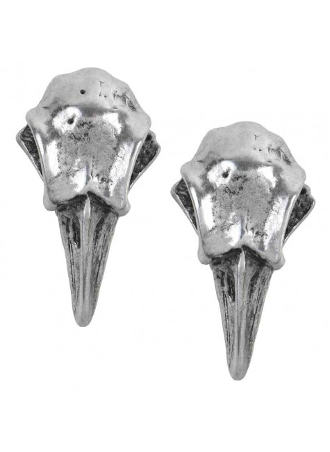 Rabeschadel Pewter Raven Skull Stud Earrings at Gothic Plus, Gothic Clothing, Jewelry, Goth Shoes & Boots & Home Decor