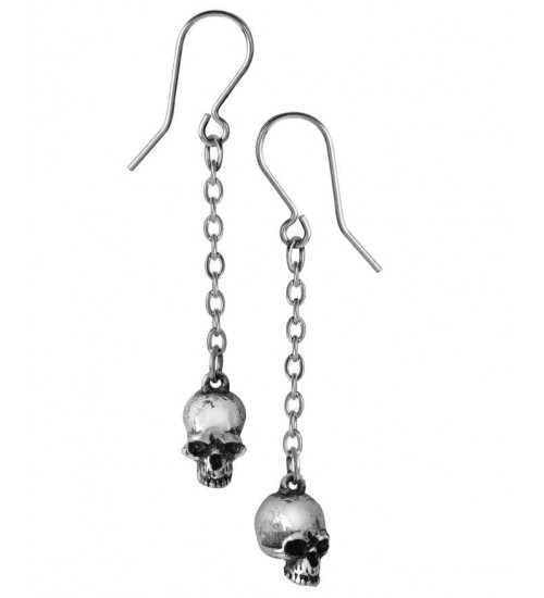 Deadskull Pewter Skull Drop Gothic Earrings at Gothic Plus,  Gothic Clothing, Jewelry, Goth Shoes, Boots & Home Decor