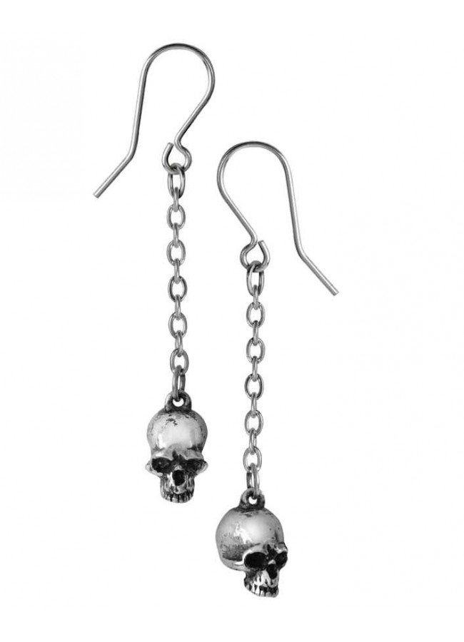 Deadskull Pewter Skull Drop Gothic Earrings At Plus Clothing Jewelry Goth