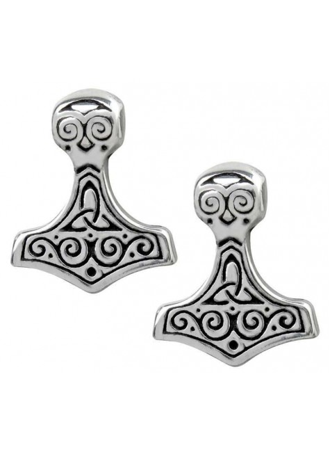 Thor Hammer Pewter Earrings at Gothic Plus, Gothic Clothing, Jewelry, Goth Shoes & Boots & Home Decor