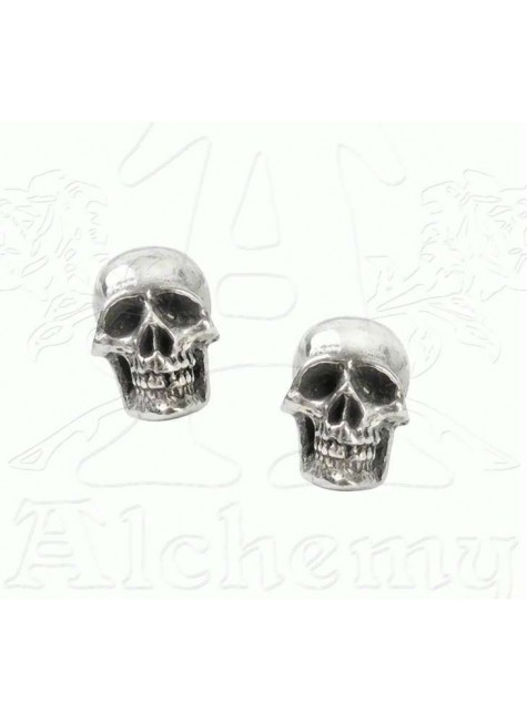 Mortaurium Pewter Skull Stud Earring Pair at Gothic Plus,  Gothic Clothing, Jewelry, Goth Shoes, Boots & Home Decor