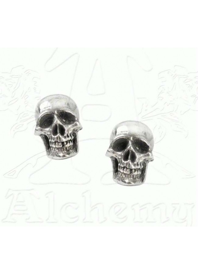 Mortaurium skull stud earrings in pewter by alchemy gothic for Alchemy skull decoration