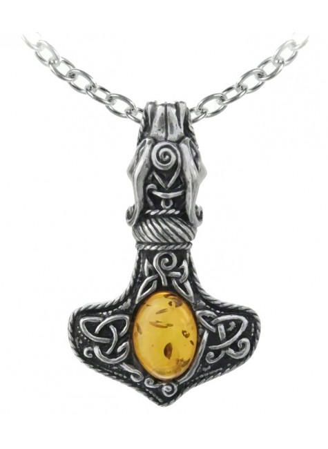 Amber Dragon Thorhammer Pewter Pendant at Gothic Plus, Gothic Clothing, Jewelry, Goth Shoes & Boots & Home Decor