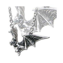 Om Strygia Pewter Bat Necklace Gothic Plus Gothic Clothing, Jewelry, Goth Shoes & Boots & Home Decor