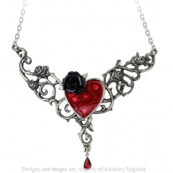 The Blood Rose Heart Pewter Necklace Gothic Plus Gothic Clothing, Jewelry, Goth Shoes & Boots & Home Decor