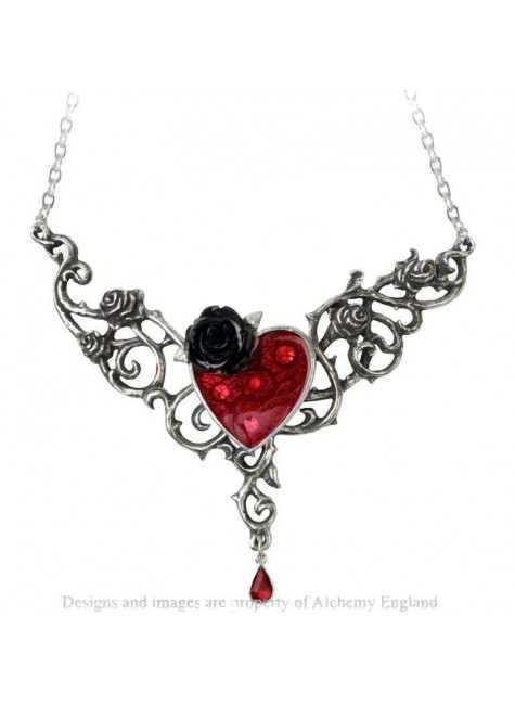 The Blood Rose Heart Pewter Necklace at Gothic Plus, Gothic Clothing, Jewelry, Goth Shoes & Boots & Home Decor