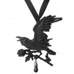 Harbinger Black Raven and Rose Gothic Necklace