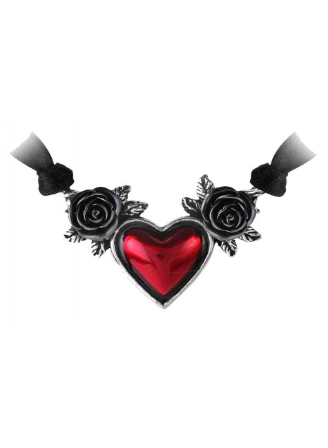 Blood Heart Black Rose Heart Pewter Necklace at Gothic Plus, Gothic Clothing, Jewelry, Goth Shoes & Boots & Home Decor
