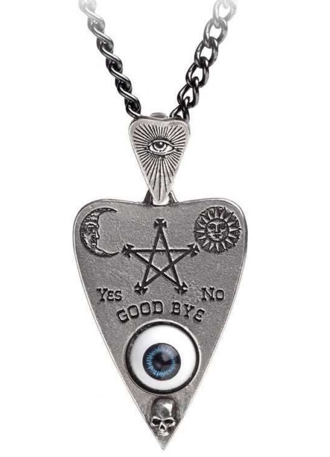 Mystical ouija board planchette pewter necklace occult jewelry mystical ouija board planchette pewter necklace at gothic plus gothic clothing jewelry goth aloadofball Images