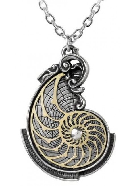 Fibonacci Golden Spiral Pewter Necklace at Gothic Plus, Gothic Clothing, Jewelry, Goth Shoes & Boots & Home Decor
