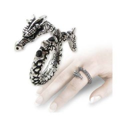 Vis Viva Pewter Dragon Ring Gothic Plus Gothic Clothing, Jewelry, Goth Shoes & Boots & Home Decor