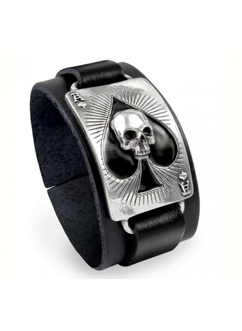 Ace of Dead Spades Leather Strap Bracelet at Gothic Plus, Gothic Clothing, Jewelry, Goth Shoes & Boots & Home Decor