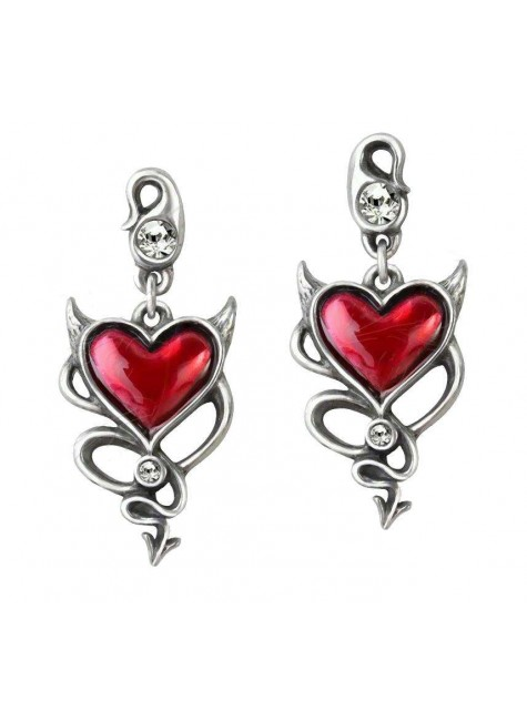 Devil Heart Earring Pair at Gothic Plus, Gothic Clothing, Jewelry, Goth Shoes & Boots & Home Decor