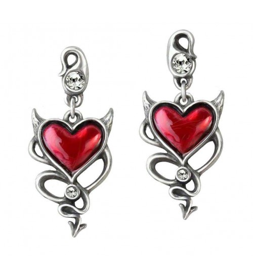 Devil Heart Earring Pair at Gothic Plus,  Gothic Clothing, Jewelry, Goth Shoes, Boots & Home Decor