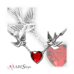 Swallow Heart Pewter Necklace Gothic Plus Gothic Clothing, Jewelry, Goth Shoes & Boots & Home Decor