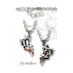 Tattoo Gun Pewter Necklace Gothic Plus Gothic Clothing, Jewelry, Goth Shoes & Boots & Home Decor